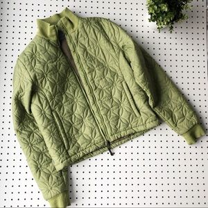 Quilted flower puffer coat pea green Jansport